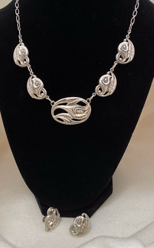 """Estate DANECRAFT Sterling Silver Set Calla Lilly 16"""" Necklace & Earrings"""