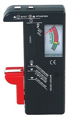 Battery Volt Tester Checker AA/AAA/C/D/9V Universal Button Cell Battery Tester