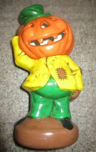 Vintage Halloween Light PUMPKIN JACK-O-LANTERN Head SCARECROW Man Ceramic Lamp