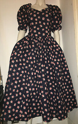 Vintage Laura Ashley Full Skirt Rose Cotton Floral Summer Tea Party Dress UK 14