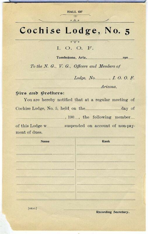 ARIZONA TERRITORY – TOMBSTONE – COCHISE LODGE MEETING NOTICE- CA. 1900