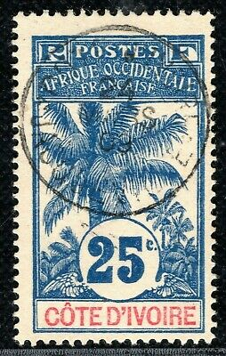 France Colonies IVORY COAST Stamp 25c OIL PALMS 1909 Superb Used Scarce LIME59