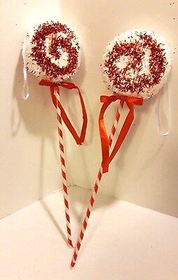 13 Inch Set of 2 Red & White Tinsel Glitter Lollipop Christmas Ornaments  (Glitter Christmas Ornaments)
