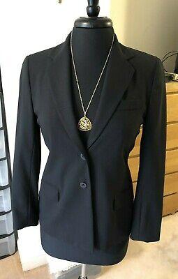 Vintage 94% Wool/6% Spandex blend 2 button closure black blazer size 4/S  -