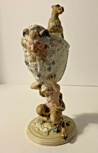 """Volkstedt German Porcelain Mythical Figurine Vase late 19th century  9"""" Tall"""
