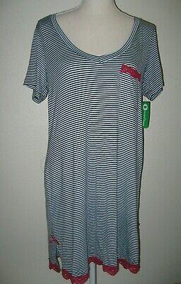 HONEYDEW 330892 All American Sleepshirt Lounge M Polar Stripe Pink Lace Trim NWT