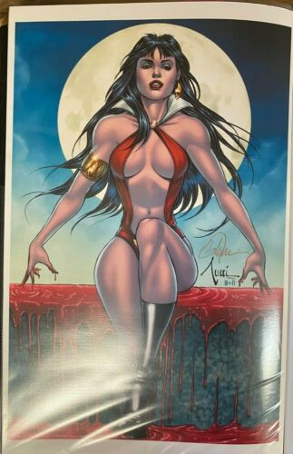 SEXY VAMPIRELLA SITTING IN BLOOD BILLY TUCCI SIGNED PRINT 11 X 17 #oa-1232
