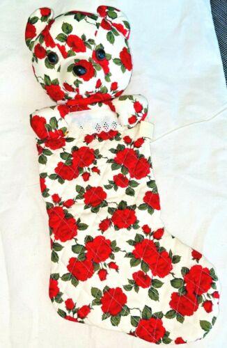 VintageTeddy Bear Red & Ivory Floral Roses Milaca Mills Inc. ~Christmas Stocking