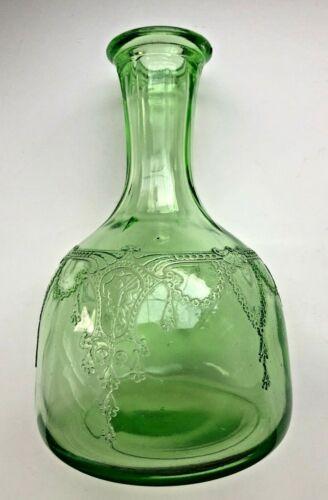 Cameo Ballerina Anchor Hocking Green Depression Glass Carafe Decanter