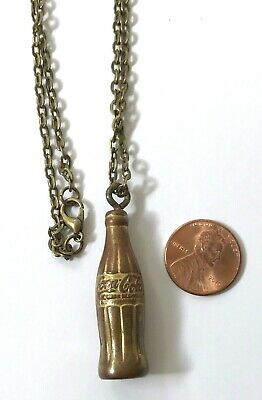 "Miniature Vintage Brass Coke Coca-Cola Bottle Charm Pendant on 30"" Chain Jewelry"