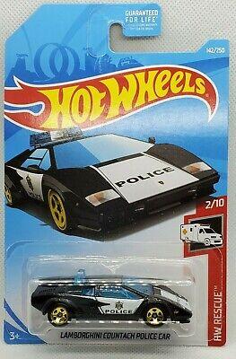HOT WHEELS 2019 #142 Black White Lamborghini Countach Police Car
