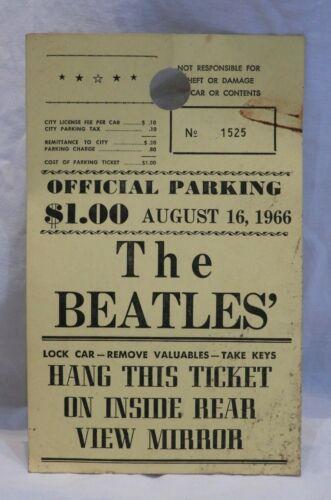 The Beatles Parking Pass Ticket Stub Aug 16, 1966 JFK Stadium Philadelphia, PA