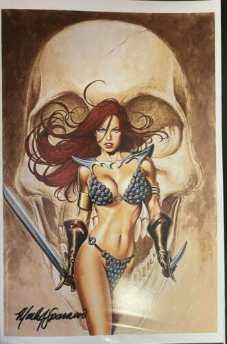 SEXY RED SONJA WITH SKULL BACKGROUND MARK SPARACIO SIGNED PRINT 11 x 17 #oa-1229
