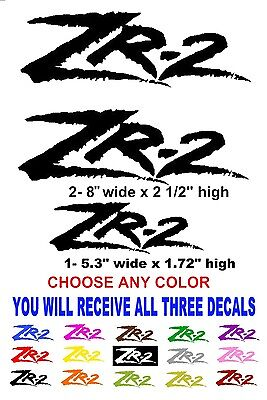 ZR-2 vinyl stickers decals ANY COLOR CHEVROLET CHEVY GMC SONOMA ZR2 TRUCK (Chevy Blazer Decals)