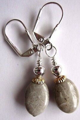 EARRINGS Petoskey Fossil GemStone Kirsten Handmade USA Artisan Silver Leverbacks