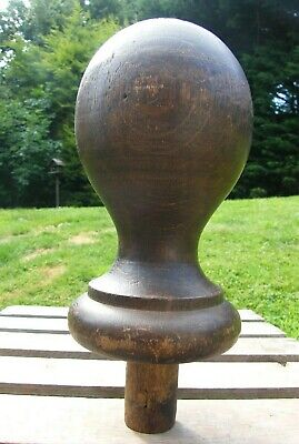 A VERY LARGE RECLAIMED ANTIQUE CARVED STAIR NEWEL POST CAP TOP FINIAL #1