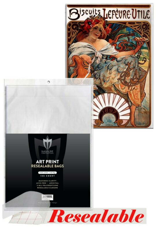 100 Max Pro 11 X 17 Resealable Bags Sleeves Art Print Photo NEW ACID FREE 11X17