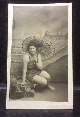 66. Antique Risque Erotica 1900s Photograph Postcard Lady in Swimsuit