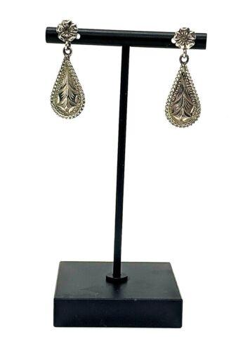 VOGT Mex Sterling Silver Dangle-Drop Filigree Earrings Pair Antique 92127