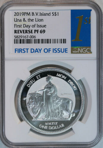 2019 BVI Una & The Lion 1 oz Silver Reverse Proof $1 NGC PF69 / First Day Issue
