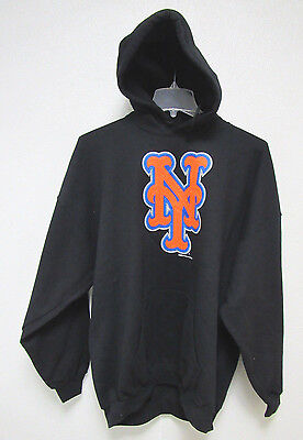 - NWT MLB PUFF SILK SCREEN HOODED PULLOVER SWEATSHIRT BLACK - NEW YORK METS - MED