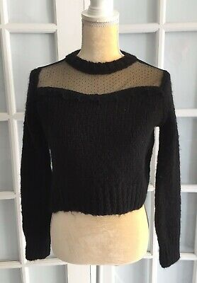 NWT ZARA Black CROPPED COMBO SWEATER Lace Appliqué Long Sleeve Size S  O1539 Cropped Long Sleeve Sweater