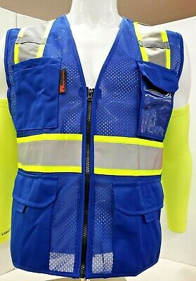Fx Two Tone High Visibility Reflective Blue Safety Vest W Id Pocketsmall-2xl