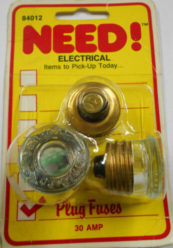 General Electric Screw-In 30 Amp Glass Edison Type Fuse(s) 3 Pack - Vintage