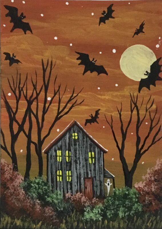 ACEO Original Halloween Acrylic Sketch Card Abandoned house bats ghosts