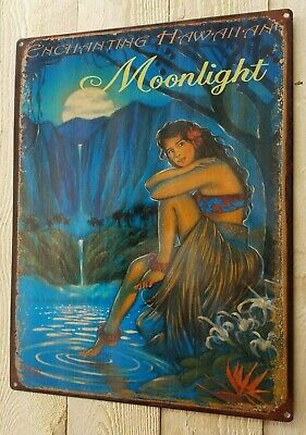 Vintage enchanting Hawaiian moonlight metal sign beach bungalow home decor](Hawaiian Home Decor)