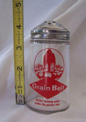 Vintage GRAIN BELT BEER Parmesan / Red Pepper Flakes Glass Shaker w/ Metal Lid