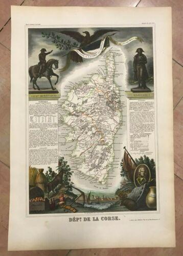 CORSICA FRANCE 1845 by Victor LEVASSEUR LARGE DECORATIVE ANTIQUE MAP