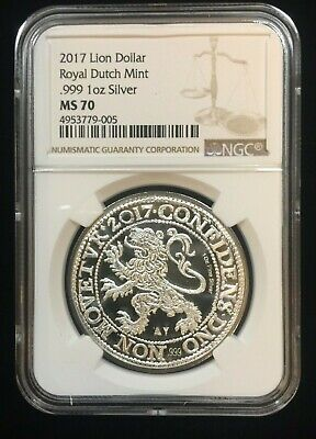 2017 Netherlands 1 oz Silver Lion Dollar Bullion Coin Dutch Mint NGC MS70 ~ (Lion Dollar Coin)