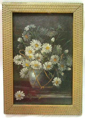 Big Antique Victorian Oil Painting Folk Art Still Life Floral Country Primitive