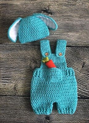 Newborn Baby Easter Bunny Overalls And Hat Photo Prop Pants Outfit Clothes Blue