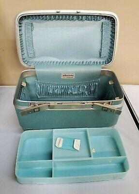 Vintage Samsonite Robins Egg Blue Hard Train Case Luggage W/ Key