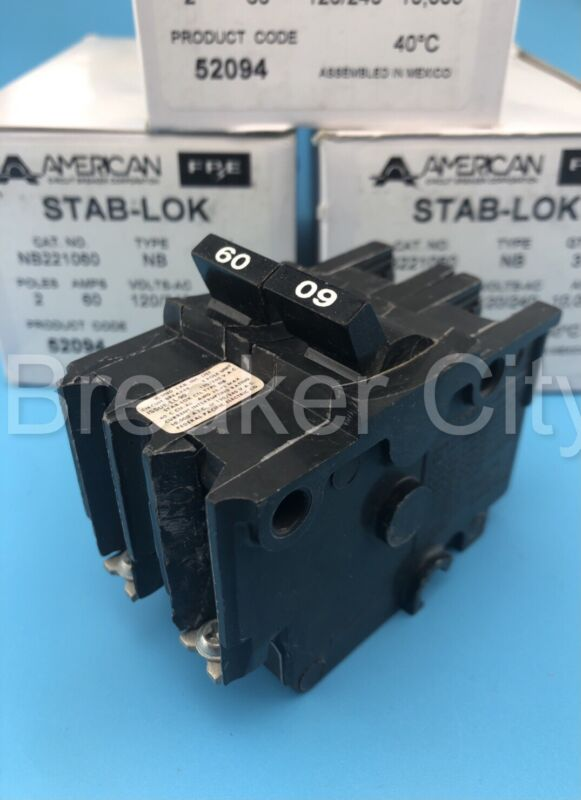 """Federal Pacific 60 Amp 2 Pole Type """"Bolt On"""" NB NB260 FPE Circuit Breaker 240V"""