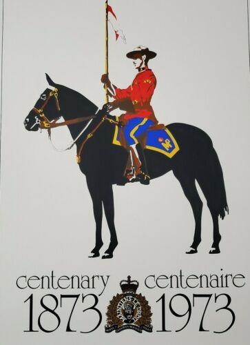 Vintage Mountie Poster Royal Canadian Mounted Police Centenary RCMP Officer
