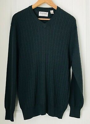 KARTEL  Men's Medium Gray Wool V-Neck Pullover Sweater Made in Ireland