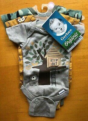 Gerber Baby Boys 3-Pack Organic Cotton Bears Camo Onesies PREEMIE-FREE SHIPPING!