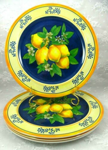 House & Garden Tuscan Lemons Blossom Melamine Dinner Plates Set of 4~New! More!