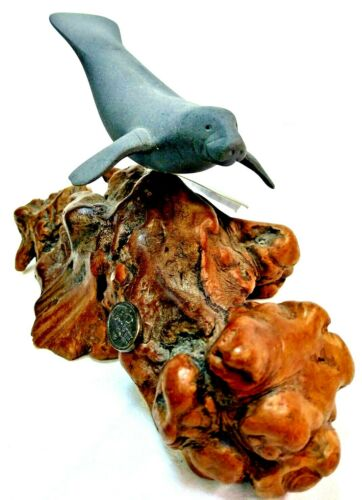 John Perry Seal Sculpture on Burwood Base Ocean Art  6 inch