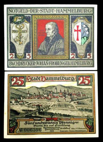 1918 German Notgeld Hammelburg 25 Pfennig Bank Note - 100 Years Old UNC