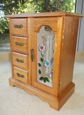 Vintage Wooden Wardrobe Style Jewellery Box