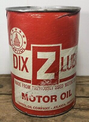 Vtg DIX Z LUBE Motor Oil 1 Quart Oil Can Full Composite Rare Atlanta Georgia