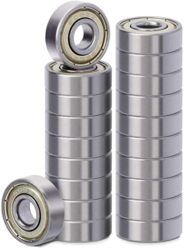 20 Pack 608 ZZ Ball Bearing, Bearing Steel & Double Iron Sealed 8mm x 22mm x 7mm