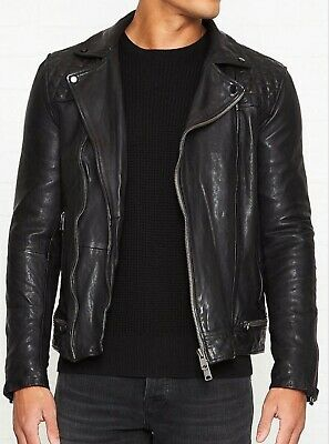 $650 NWT ALLSAINTS CONROY Leather Biker Jacket Black (Ink) Mens XXL