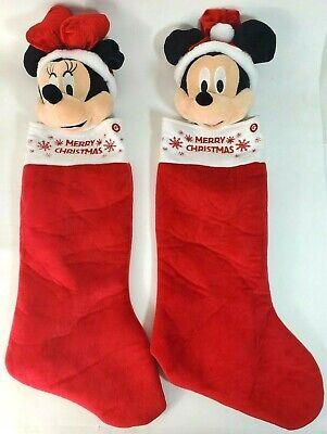 Disney Parks Classic Mickey & Minnie Mouse 3D plush Christmas Stocking EUC