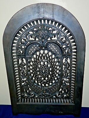 Victorian Wm Jackson Co. Arched Out Iron Ornate Fireplace Cover Insert No. 44