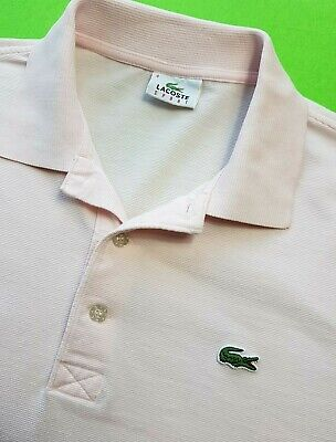 LACOSTE SPORT MENS POLO SHIRT TOP M/L SIZE 4 PINK SHORT SLEEVE